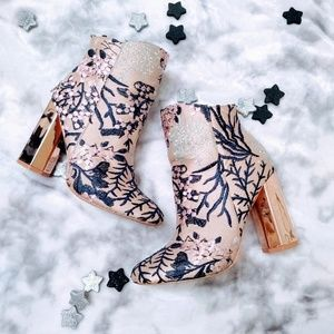 Forever 21 floral rose gold booties